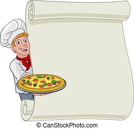 plano de fondo, pizza, chef, hombre, caricatura, señal, menú, rúbrica