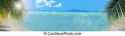 plano de fondo, playa tropical, bandera
