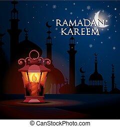 plano de fondo, ramadan, kareem, saludo