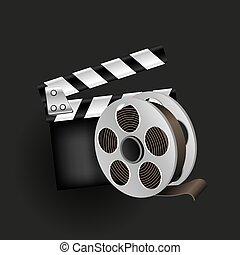 plano de fondo, retro, cine, negro, icono