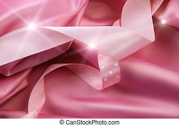 plano de fondo, rosa, cintas, raso, seda