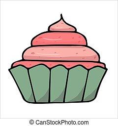 plano de fondo, rosa, crema, blanco, cupcake