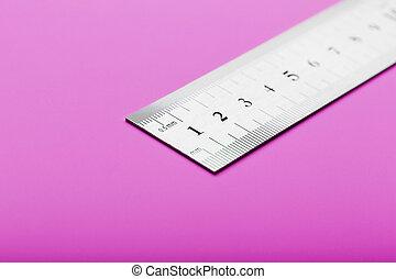 plano de fondo, rosa, su, text., metal, copia, lugar, primer plano, regla