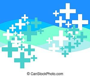 plano de fondo, símbolo, resumen, cruces, médico