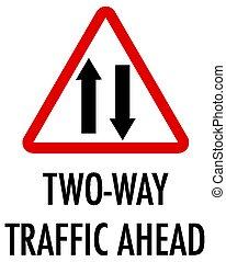 plano de fondo, señal, tráfico, bilateral, blanco, adelante