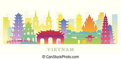 plano de fondo, señales, vietnam, silueta, colorido, contorno