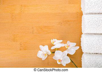 plano de fondo, toallas, concepto, bambú, balneario, orquídea, blanco