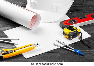 plano de fondo, variedad, de madera, blanco, hardhat, herramientas, cierre, encima, reparación, copia, arriba, espacio, medio
