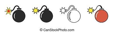 plano de fondo, vector, aislado, símbolos, bomba, conjunto, blanco