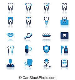 Plano dental con iconos de reflexión