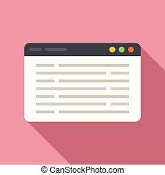 plano, diseño, página, sitio web, programación, vector., tela, icono