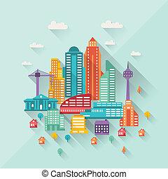 plano, edificios, ilustración, diseño, cityscape, style.