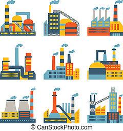 plano, edificios, industrial, iconos, fábrica, diseño determinado, style.