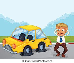 plano, el suyo, coche, preocupado, neumáticos, al lado de, hombre