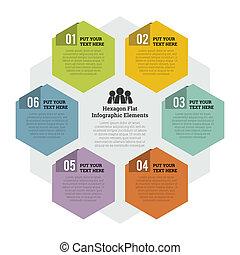 plano, elemento, infographic, hexágono