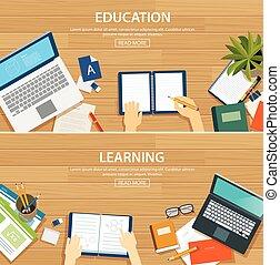 plano, escuela, aprendizaje, de madera, objeto, diseño, plano de fondo, educación, bandera, template.