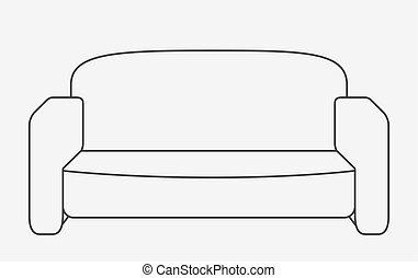 plano, estilo, illustration., moderno, sofa., vector, esquemáticamente