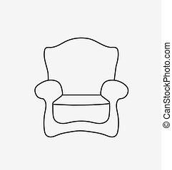 plano, estilo, illustration., moderno, vector, chair., esquemáticamente