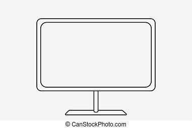 plano, estilo, illustration., moderno, vector, tv., esquemáticamente