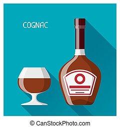 plano, estilo, vidrio, coñac, diseño, botella