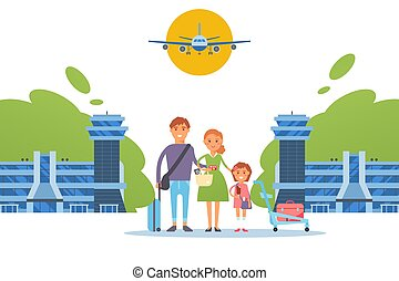 plano, familia , caracteres, gente, vector, viaje, estilo, feliz, ilustración, juntos, aeropuerto, caricatura