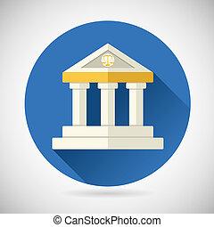 plano, finanzas, conocimiento, casa, justicia, museo, moderno, historia, ilustración, símbolo, vector, diseño, plano de fondo, tribunal, elegante, ley, o, banco, icono