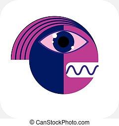 plano, gráfico, ilustración, imagen, moderno, carácter, aislado, vector, picture., white., diseño, extraño, impar, cubismo, criatura