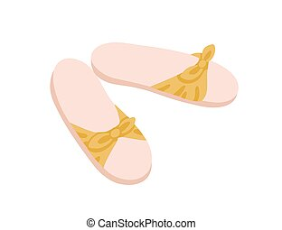plano, hembra, backless, ilustración, verano, slides., hogar, aislado, par, pantuflas, shoes, mujeres, bow., plano de fondo, vector, cómodo, dama, abierto, calzado, o, one-strapped, blanco