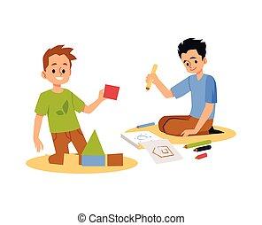 plano, hogar, habitación, ilustración, niños, vector, isolated., juego, jardín de la infancia, o