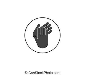 plano, icon., aplauso, ovación, aplauda, manos, vector, design., ilustración