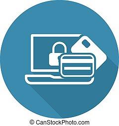 plano, icon., transacción, seguro, design.