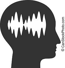 plano, icono, cerebro, vector, ondas