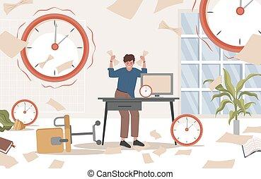 plano, illustration., rodeado, manos, oficina desordenada, relojes, vector, el suyo, hombre, documentos, enfatizado, posición