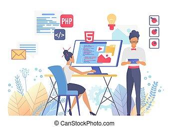 plano, ilustración, diseño, programación, vector, tela