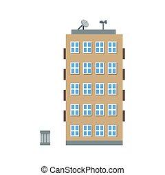 plano, ilustración, edificio