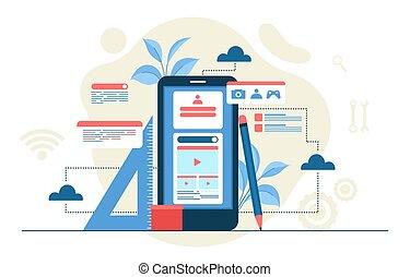 plano, ilustración, móvil, desarrollo, smartphone, proceso, diseño, app