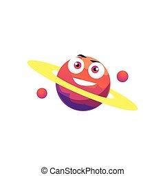 plano, ilustración, planeta, caricatura, vector, saturno, isolated., órbita, carácter