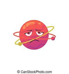plano, infeliz, ilustración, planeta, cara, caricatura, vector, isolated., carácter