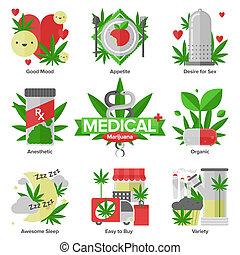 plano, médico, conjunto, marijuana, iconos