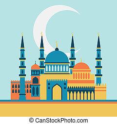 plano, mezquita, saludo, islámico, diseño, style., tarjeta