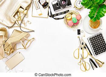 plano, moda, oficina, media., accesorios, bloggers, colocar, social, suministros