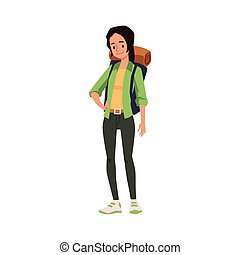 plano, mujer, ilustración, vector, caricatura, turista, isolated., mochila, carácter