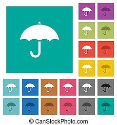 plano, multi, cuadrado, paraguas, coloreado, iconos