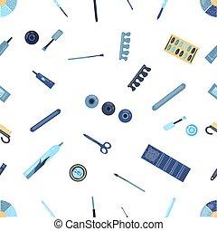 plano, peluquería, vector, blanco, herramientas, colorido, supplies., ilustración, colección, seamless, fondo., caricatura, peluquero, patrón, aislado, style.