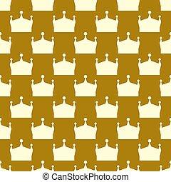 plano, seamless, corona real, ilustración, pattern., vector