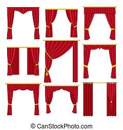 plano, set., vector, aislado, rojo, ilustración, cortinas