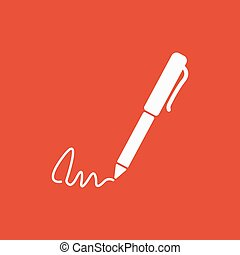 plano, subscribir, ratify, símbolo., pluma, undersign, firma, icon.
