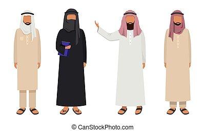 plano, vector, étnico, conjunto, musulmán, ilustración, hombres, llevando, caricatura, árabe, tradicional, clothing., style.