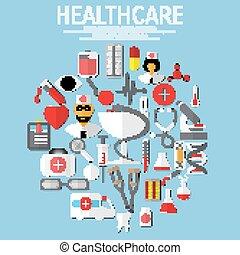 plano, vector, asistencia médica