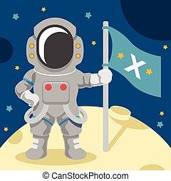 plano, vector, astronauta, ilustración